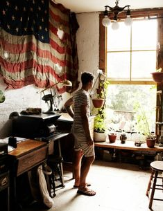 studio, plant, interior, living rooms, flags, offic, hous, homes, vintage decor