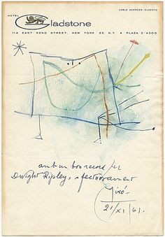 Joan Miró's abstract self portrait, 1961 Nov. 21. Dwight Ripley papers relating to Joan Miró, Archives of American Art, Smithsonian Institution.