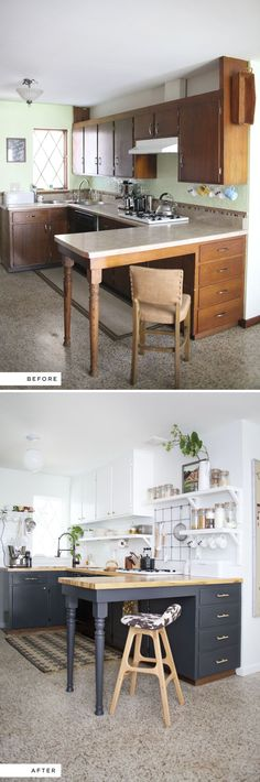 Eclectic Kitchen Renovation- including before and after photos - white and black (dark gray?) painted cabinets, butcher block countertops, raised cabinets & open shelving underneath, painted brick