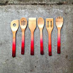 diy ombre wooden spoons