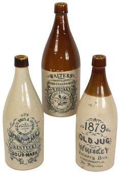 Advertising stoneware whiskey bottles (3), 1879 Old Jug