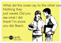 What did the ocean say to the other ocean?  Nothing they just waved. Did you  sea what I did there? I'm shore  you did, Beach.