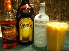 Pumpkin Spice Mudslide (Equal parts Pumpkin Spice Schnapps or Fulton's Harvest Pumpkin Pie Cream Liqueur Kaluha Vanilla Vodka Splash of milk)
