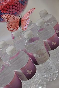 Cute labels.  Love the butterfly, also. water bottles for a women's retreat or hike