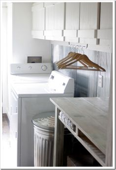 corrugated metal on the wall in laundry room