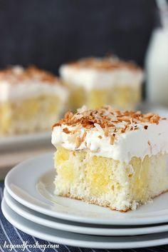 Triple Coconut Poke Cake #recipe