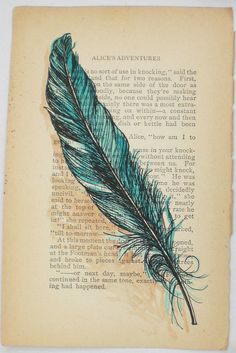 If I ever got a feather tattoo, this would be what it would look like...I Could Let You Out You Know or Prayer for Freedom by rowenamurillo, vintage books, tattoo ideas, old book pages, color, feather art, tattoos inspired by books, tattoos of books, feather tattoos, old books