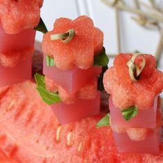 watermelon basil martini jelly shot~T~ use gin or vodka