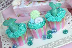 Cute Mermaid Cupcakes from this Mermaid Themed Birthday Party Full of Really Cute Ideas via Kara's Party Ideas KarasPartyIdeas.com #mermaidparty #mermaids #mermaidcake #und...