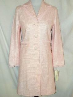 Sz 2P Amanda Smith Pink White Tweed Spring Coat NWT Lined Pockets Mid Length