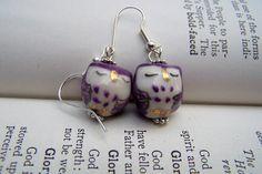Purple Owl Earrings  Owl Jewelry  Cute Little by stonehorsedesigns, $12.00