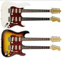 neck guitar, fender stratocast, doubl neck, fender japan, stratocast doubleneck