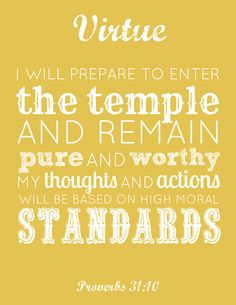 FREE #LDS Young Women #Virtue printable -- 2 sizes (link to all value printables in this post)