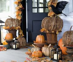 fall decor, pumpkin, decorating ideas, the crow, front doors, fall porches, pottery barn, front porches, halloween