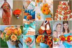 Orange & Aqua Blue :  wedding blue bouquet citrus flowers inspiration orange tangerine teal tiffany blue turquoise white Colors OrangeBlue aqua blue, color, tiffany blue, wedding blue, orange weddings, blue weddings, blue bouquets, flower, blues
