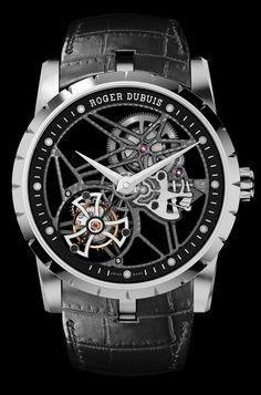 Excalibur 42  Skeleton flying tourbillon  This marriage of technical excellence and daring design explores the watchmaking of the future. Roger Dubuis has displayed the complications and enhanced the functions, and framed them in cases with a powerful, avantgarde design.