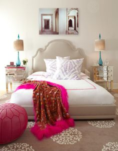 girl's rooms - tan bed headboard mirrored nightstands turquoise blue lamps purple ikat cushions pillows beige Madeline Weinrib medallion rug pink leather pouf red throw Decor, Ideas, Side Tables, Headboards, Bedrooms Design, Colors, Beds Frames, Rugs, Girls Rooms