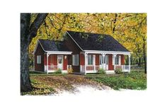 House Plan #23-526.  Front Elevation. Cute for <1000 sf