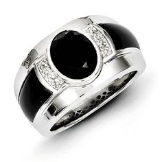 Men's Black Onyx Diamond Sterling Silver Ring Jewelry Available ...