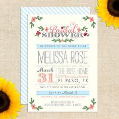 Whimsy Bridal Shower Invitation DIY by YellowBrickGraphics