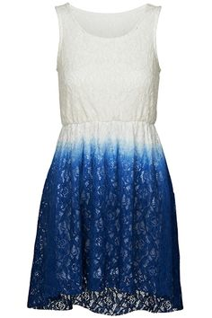 Asymmetric Dual-tone Gradient Blue Dress #Romwe