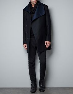 COAT WITH FAUX LEATHER COLLAR - Jackets - Man - ZARA United States