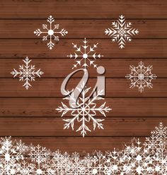 iCLIPART - Clip Art Illustration of Snowflakes on a Wooden Background