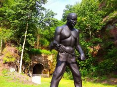 The statue of John Henry at his new location outside of the Great Bend Tunnel in the new John Henry Park in Talcott, WV.