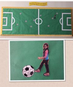 I created this motivational bulletin board to help my students track their Accelerated Reader points. I took a picture of the students in a kicking position, printed them, cut them out and placed them all on the same side of the field. As they earn points they move forward towards the corresponding soccer ball, until finally reaching the goal or making the goal! I chose to make my soccer ball points in increments of 10.