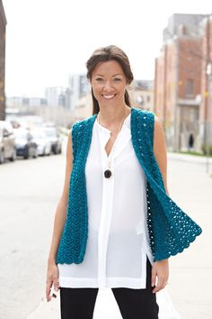 Caron International | Free Project | Drapey Crochet Vest - Get the pattern here:  http://www.caron.com/projects/ss/ss-drapey-crochet-vest.html
