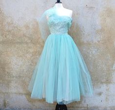 Light aqua tulled dress from the 50's