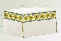 Slipcover for an ottoman.