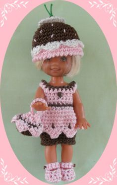 """Crochet Doll Clothes Outfit Chocolate Cupcake for 4 ½"""" Kelly Same Sized Dolls 