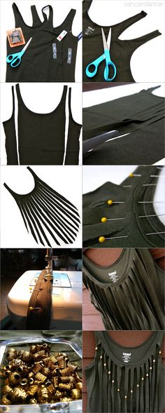 This person has a lot more T-Shirt cuts and re-style that i did not pin....click on the name above to see all her pins...15 Minute Fringe Top... click >>> diy shirt, craft, cloth, diy fashion, decorating ideas, diy gifts, hand made, fringes, tank