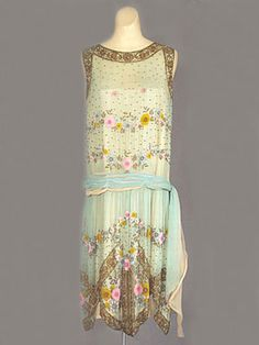 "French beaded silk chiffon dress, c.1924. Label: ""Made in France."""