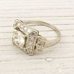 Antique Old European Cut Diamond Engagement Ring from the 1930's by Erstwhile Jewelry