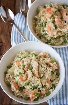 Shrimp and Pea Risotto (perfect easy weeknight meal!)