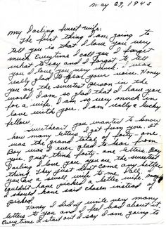 A world war II love letter 5.29.1945. Notice the pet names. So sweet!