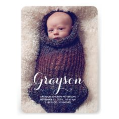 Thoroughly modern and simply elegant, this design is a perfect way to introduce your new little boy. Features lovely cursive typography and two large photos of your baby - one on the front and one on the back. The front also holds baby's birth information, and on the back a special text area to be personalized with parents and family info. #baby #birth #announcement #modern #simple #photo #two #photo #boy #blue #cursive #neutral #white #front #and #back #large #photo #contemporary ...