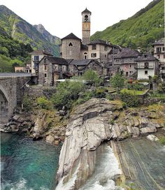 "Lavertezzo, OLD ALPINE VILLAGE WITH THE ""FAMOUS"" GREEN WATER OF THE RIVER - SHOT IN SOUTHERN SWITZERLAND - VERZASCA VALLEY"