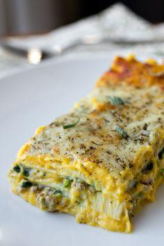 Autum lasagna with creamy, butternut squash & roasted garlic sauce, seasoned ground turkey, sage, spinach & mozzarella.