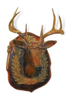 1900 rustic folk art wood deer antler, deer head