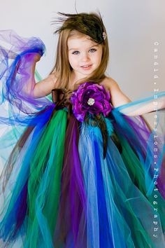 Flower Girl Tutu Dress in Couture Peacock
