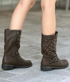 Studded Buckled Boots.