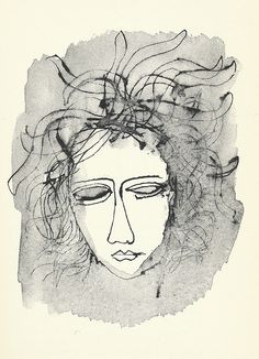 """""""Medusa"""" by Ben Shahn  A Ben Shahn drawing illustrating Edward Dahlberg's """"The Sorrows of Priapus."""" Published in 1957 by New Directions."""