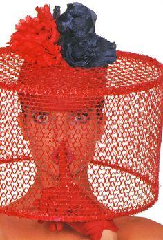 Haute Couture Printemps Eté '87 Elle France, March 1987 Photographer: Marc Hispard Model: Stephanie Seymour Hat by Pierre Cardin