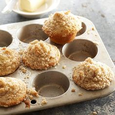 These homemade Eggnog Muffins are perfect for a holiday brunch! See more recipes with eggnog here: http://www.bhg.com/christmas/recipes/eggnog-treat-recipes/?socsrc=bhgpin121412eggnogmuffins=4
