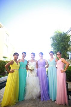 Pretty pastel colors... an idea to do different colored bridesmaids dresses
