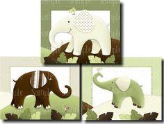 Set of 3 Green and Brown Elephant Baby Nursery Kids Bedroom 8 x 10 Wall ART PRINTS. $15.00, via Etsy.