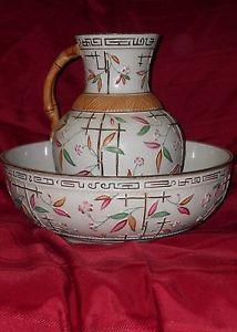 Brownhill Majolica Wash Bowl and Pitcher Bamboo Trellis Pattern | eBay